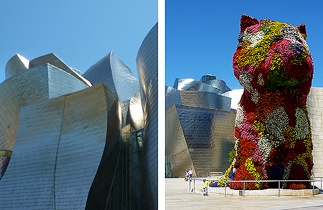 Sinuous façade (left) and that dog again - but can it fetch a stick?