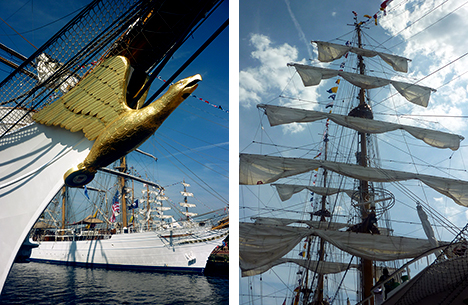 Eagle and Cisne Branco <i>in port (left) and furled sheets in the sunshine