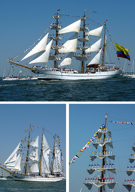 Guayas approaching Norfolk's Town Point Park (top); Dewaruci (above left) and Gloria <i>(right)