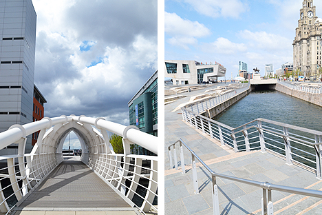 Princes Dock footbridge (top) and the all-new Pier Head